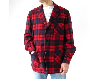 Men's Pendleton Jacket | Red Plaid Shirt Jacket | 60s Jacket | Medium M