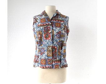 Vintage 1960s Blouse / Batik Print 60s Shirt / Sleeveless Blouse / Medium M