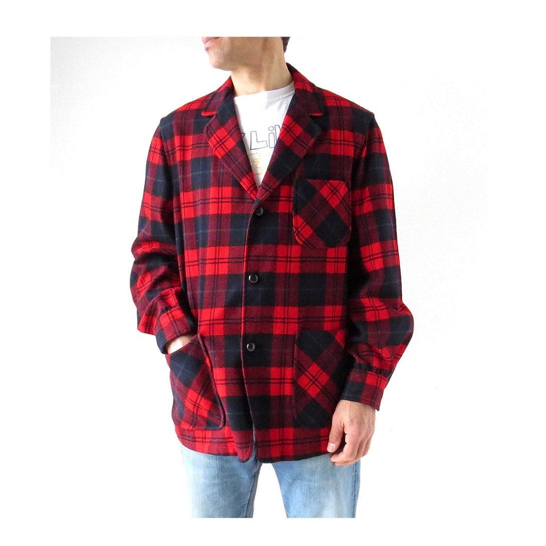 Men 39 s pendleton jacket red plaid shirt jacket 1960s for Plaid shirt jacket mens