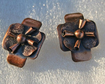 Vintage Copper Earrings Mid Century Rolled Petals 1950s