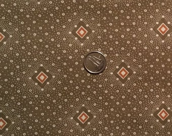 BR008 ~ Brown fabric Dotted fabric Quilting fabric Rust diamonds