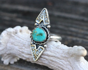 Sterling Silver Ring Turquoise Ring Turquoise Jewelry Natural Turquoise Ring Sterling Silver Turquoise Ring Statement Ring Bohemian Ring