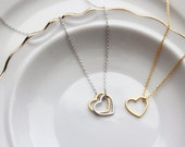 Build Your Own Heart Necklace - Silver or Gold Mother's Day Gift Bridesmaid Gift Wedding Gift Valentines Gift Necklace Love Open Heart