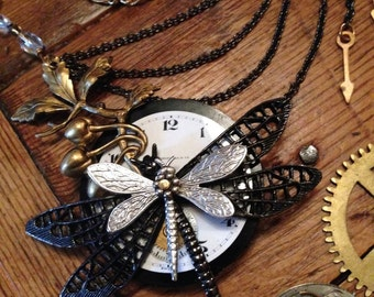 Dragonfly Necklace, Steampunk Dragonfly Jewelry, Insect Jewelry, Statement Necklace, Free Shipping USA, Made in USA,