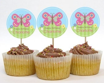 Personalised Butterfly Party Cupcake Toppers – 2 Inch Circles – DIY Printable – Happy Butterfly (Digital File)