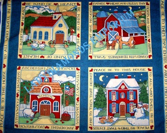 Vintage Susan Winget Cotton Fabric Panels (4-12) Pillows Throws Wallhangings Quilts Bless This House Country Decor Farms Home School Church