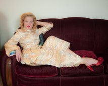 Vintage 1930s Pajamas - Decadent Rayon Brocade Pajama Set of Top and Pants with Matching Belt in Novelty Asian Inspired Motifs