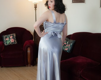 Vintage 1930s Dress - Glamorously Glossy Periwinkle Bias Cut Satin Late 30s Gown with Gathered Bust