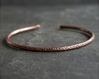 Forged Copper Cuff Bracelet - C - Crater Texture