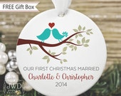 Our First Christmas Ornament Personalized Newlywed Ornament Love Birds Ornament First Christmas Engaged Together Couples Gift  - Item# LBB-O