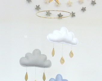"Mobile ""GEORGIA"":White,Grey,Light blue lavande cloud mobile for nursery and gold star by The Butter Flying- Mobile Nursery"