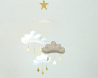 "Bestseller :Mobile ""TAUPE MILAN"" White,Taupe,White cloud mobile for nursery with gold star by The Butter Flying-Rain Cloud Mobile Nursery"