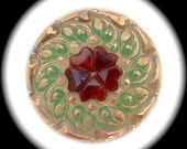 PAiR Czech Glass Buttons 22mm - 7/8 inch Garnet Red Heart Flower with Swirling Gold and Green Leaves - 2 Reverse Painted Glass Buttons GL19