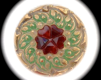 2 Czech Glass Buttons on SALE, 22mm 7/8 inch - Garnet Red Heart Flower with Swirling Gold and Green Leaves - CLEARANCE