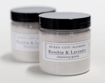 Cleansing Grains // Clay and Oatmeal Facial Mask and Exfoliant with Rosehips and Lavender // Gift for Her // 4oz