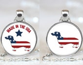 Patriotic Doxie Dachshund Changeable Magnetic Pendant Necklace with Organza Bag - Choose Graphic