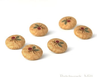 Fabric Buttons - Berries - 6 Small Red Berries - Garden Fabric Covered Buttons, Mustard, Beige, Handmade Button, Sewing, Knitting, Clothing