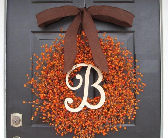 Thanksgiving Decor Thanksgiving Wreath- Berry Fall Wreath with Burlap Ribbon- Hostess Gift - Pumpkin, XXL 18-24 inch Thanksgivin