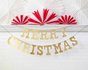 Glitter Merry Christmas Banner - 5 inch Letters - Christmas Decoration Merry Christmas Garland Holiday Banner Glitter Banner Holiday Decor