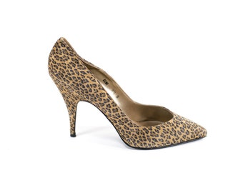 Cheetah Print Leather Heels Vintage 80s Leopard Animal Pattern Pumps Size 8.5