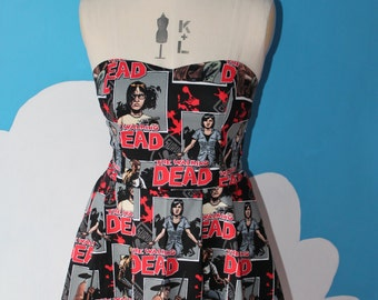 walking dead blocks sweet heart dress - any size.