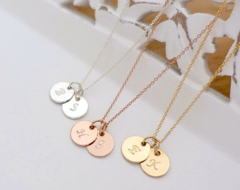 """Two 3/8"""" Discs Initial Necklace, Silver Initial Necklace, Rose Gold Filled Initial Necklace, Gold Personalized Necklace, Initial Disc Charms"""