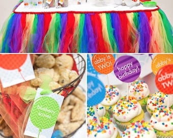 Balloon Rainbow Birthday PRINTABLE Party Collection - You Customize EDITABLE TEXT >> Instant Download << Paper and Cake
