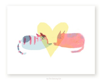 Big Heart - Love Cat Card - Thinking of You Card - Love You