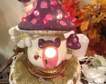 MUSHROOM Fairy  House Ceramic Purple and Pink  amanita muscari Fly -   Lighted Nightlight fantasy fairy room decor