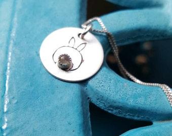 Bunny rear Pendant, sterling silver pendant, Rabbit butt pendant, Rabbit owner gift, Whimsical bunny pendant, Easter Bunny Pendant