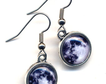Moon Earrings, Surgical Steel Planet Earrings, Full Moon Earrings Earrings, Satellite Earrings, Black Grey and White Earrings, by AnnaArt72