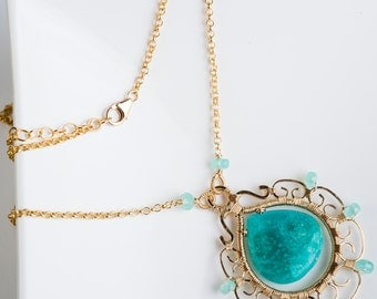 Kirin: Stunning Quality Amazonite Gemstone Filigree Pendant Necklace, Aqua Blue, w/ Intricate Gold, Exotic, Bright, Colorful, Long,