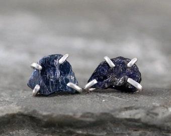 Blue Sapphire Earrings - Raw Uncut Rough Sapphire - Sterling Silver Stud Style-Rustic Shape-September Birthstone-Raw Blue Gemstone Earring