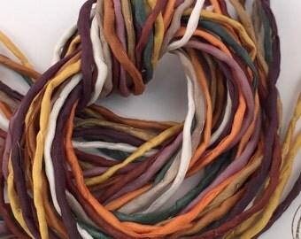 Silk Ribbon Cord Bundle Item No.376 Contains Ten 2mm Silk Ribbons Random Colors