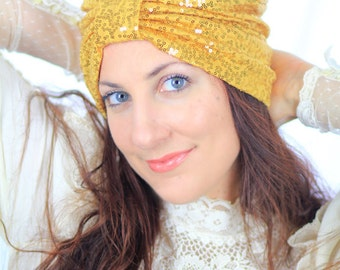 Women's Hair Turban in Gold Sequins by Mademoiselle Mermaid - Lots of Colors