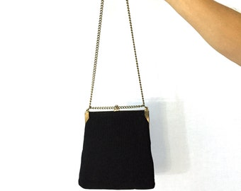 Vintage Black Structured Purse. Gold Chain Strap. Small Evening Purse. Formal Bag. Under 30. Classic Accessory. Wedding. Fancy. 1980s.