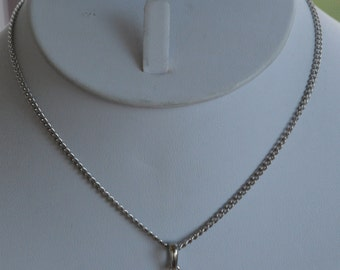 """Cute Vintage Rhinestone Peace Sign Necklace, Silver tone, Young Girl, 14"""" (L6)"""