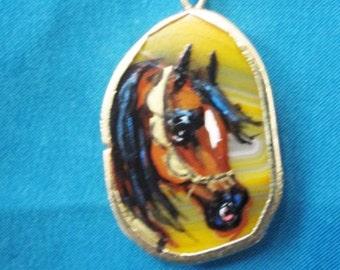 Arabian horse art necklace  Quartz  stone orange hand painted  # 5