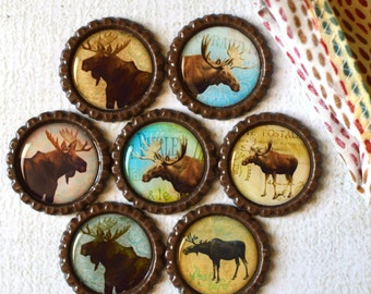 Rustic Home Decor- Moose Bottlecap Magnets- Lake House, Cabin, Log Cabin, Outdoor, Mountain, Lodge Magnets