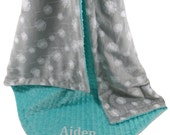 Silver Gray Dandelion Print With Breeze Teal Minky Dot Minky Baby Blanket, three sizesCan Be Personalized