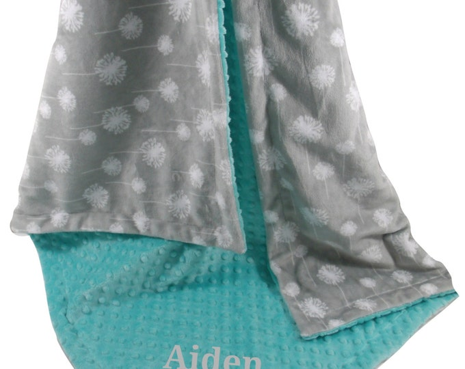 Silver Gray Dandelion Print With Breeze Teal Minky Dot Minky Baby Blanket available in three sizesCan Be Personalized