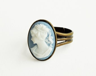 Blue Cameo Ring Vintage Victorian Portrait Antique Brass Adjustable Victorian Cameo Jewelry