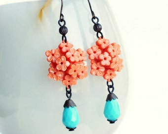 Coral Flower Earrings Vintage Floral Celluloid Bouquet Dangles Coral Aqua Earrings Coral Floral Jewelry