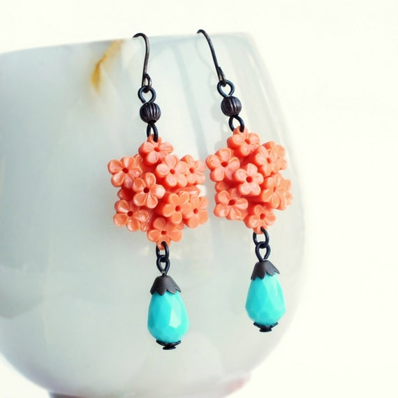 Coral Flower Earrings Vintage Floral Celluloid Bouquet Dangles Coral Aqua Earrings Coral Floral Jewelry Summer Jewellery