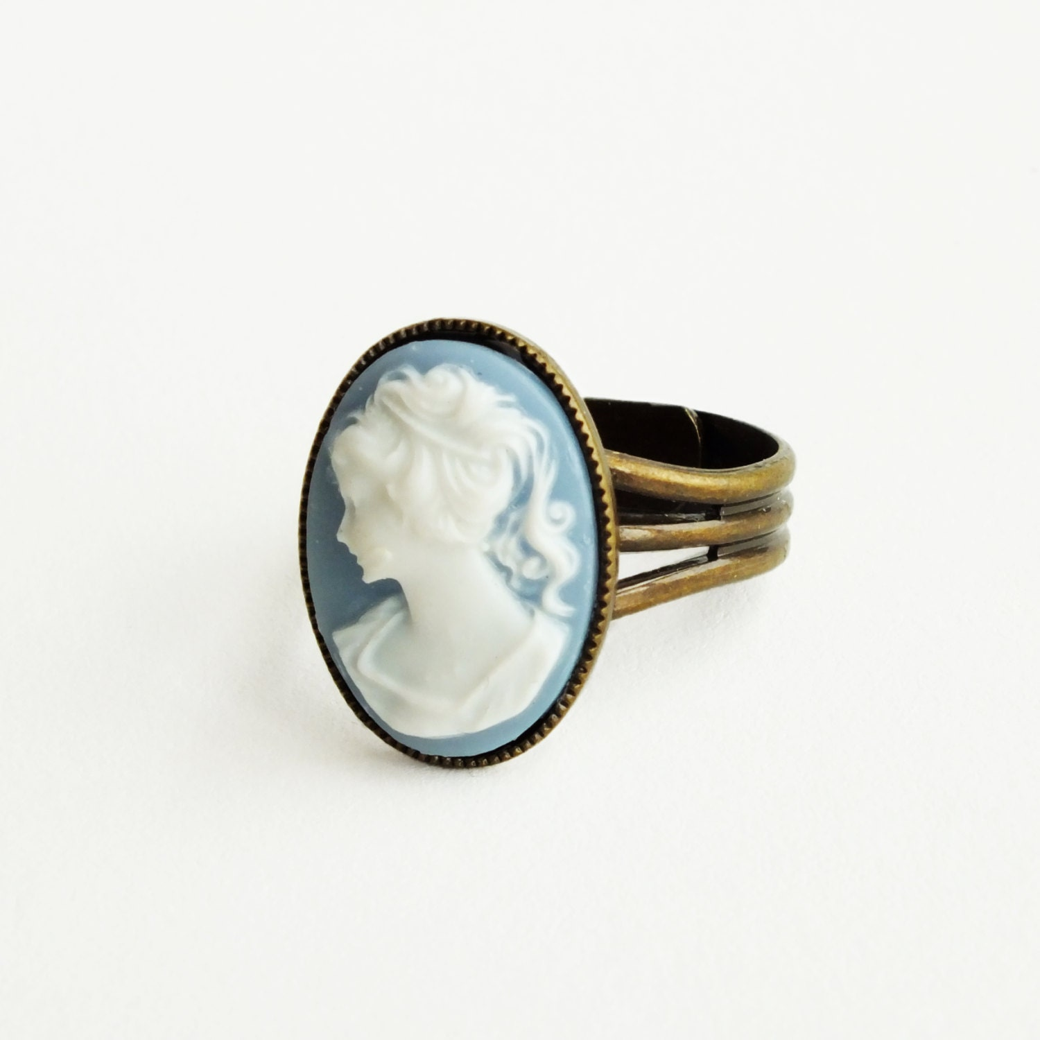 Blue Cameo Ring Vintage Victorian Portrait Antique Brass