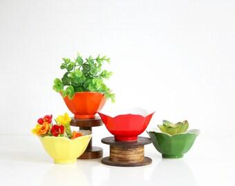 Vintage Set of Rainbow Lotus Bowls / Mid Century Porcelain Flower Bowls