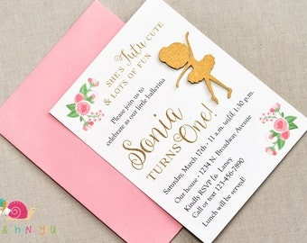 Tutu Cute Ballerina Invitations · A2 FLAT · Pink and Gold · Ballet Baby Shower | Birthday Party | 1st Birthday