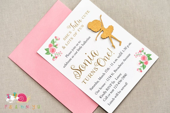 Tutu Cute Ballerina Invitations A2 FLAT Pink and Gold Ballet