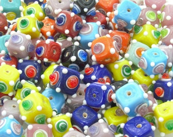 15mm Opaque Color Mix with Dots Handmade Lampwork Glass Beads - Qty 6 (AS49)