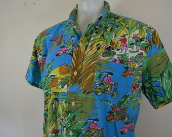Vintage VESPA Scooter themed HAWAIIAN shirt large